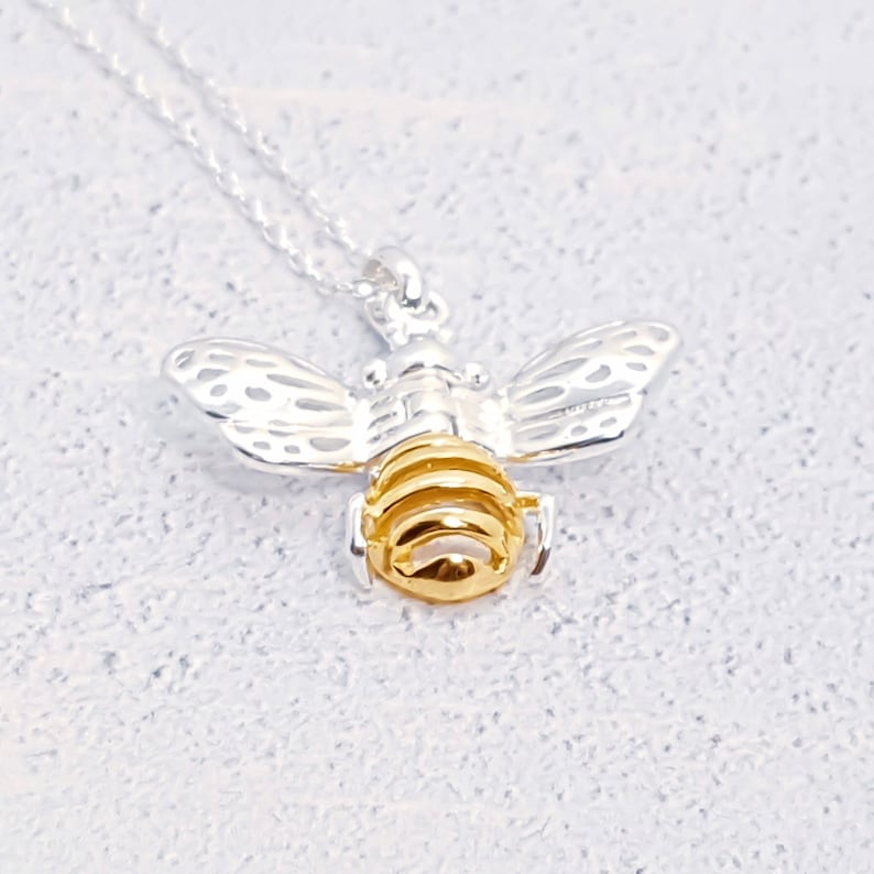 Silver Bee Necklace Solid Sterling 925 Worker Bee Honey Bumble Queen Bee Charm