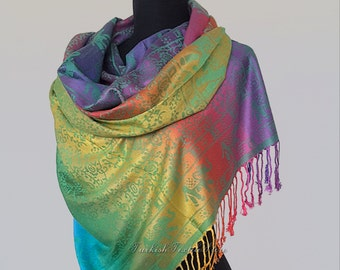 Rainbow Pashmina Scarf Elephant Print Shawl Boho Scarf Big Colorful Ombre Scarf Oversized Wedding Shawl Wrap Multicolor Scarf Folk Scarf
