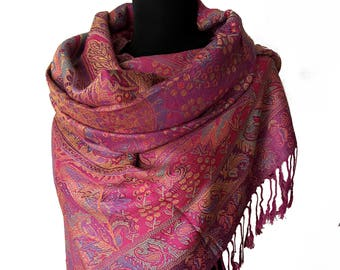 Dark Magenta Pashmina Purple Scarf Blended Purple Paisley Lilac Wrap Shawl Oversize Scarf Bridesmaids Shawl Purple Wrap Wedding