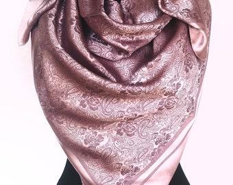 eb875244887 Original Turkish Big Square Silk Scarf Turkish Paisley Silk Scarf Ottoman  Design Rose Chocolate Scarf Woven Silk Scarf