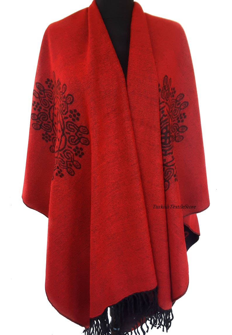 Red Poncho Wool Blend Red Blanket Shawl Wrap Cape Red Tribal