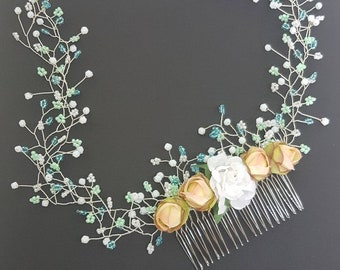 Bride/ Bridesmaid/ Prom Hair comb with beaded wire vine