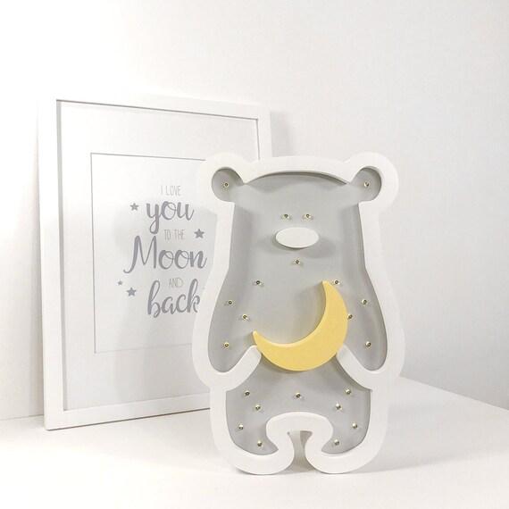 Teddy Bär Kinder Lampe Holz nachtlicht Licht Holz Nacht   Etsy