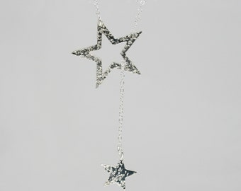 Silver Y necklace with two stars