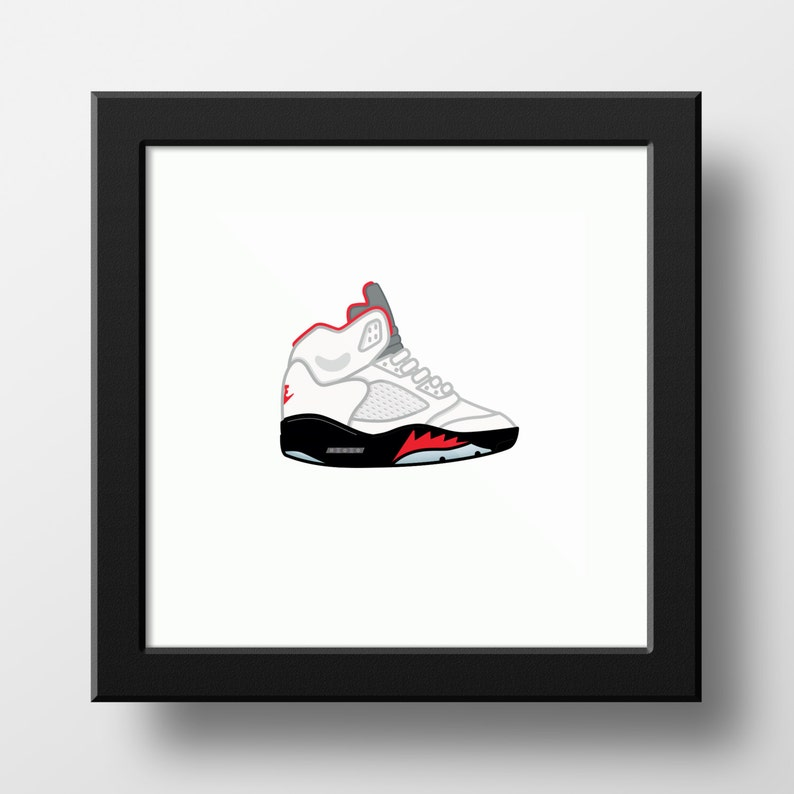 low priced 3b60d c8668 Nike Air Jordan 5 White/Fire Red Illustration - 9x9 print of Nike AJ5  White/Fire Red Sneakers 1990