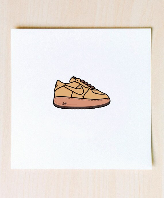 Wheat Air Force 1 Illustration 9x9 Print Of Nike Af1 Wheat Etsy