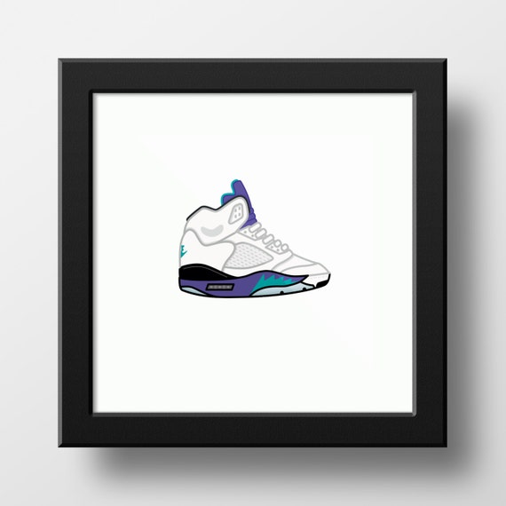 e1e9c69803e Nike Air Jordan 5 White/Grape Illustration 9x9 print of Nike | Etsy
