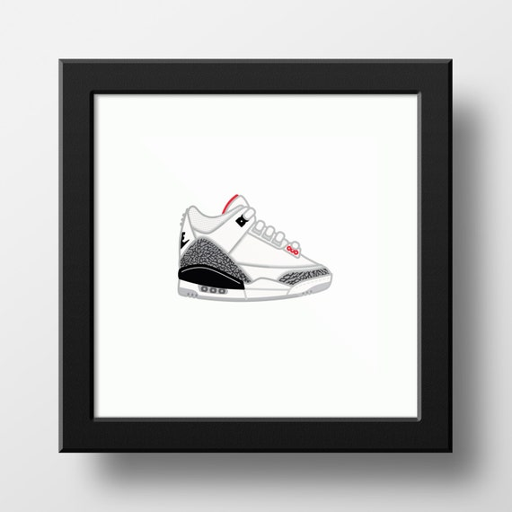 012a71b6df094f Nike Air Jordan 3 White Cement Illustration 9x9 print of