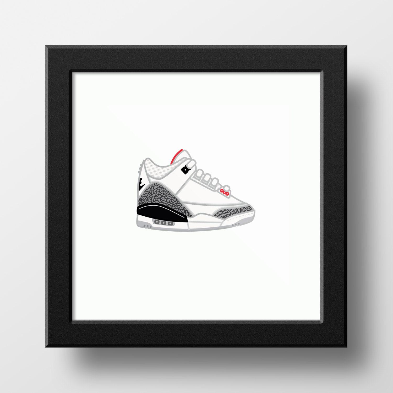 low priced 414fc d64d7 Nike Air Jordan 3 White/Cement Illustration - 9x9 print of Nike Air Jordan  3 White/Cement Sneakers 1988