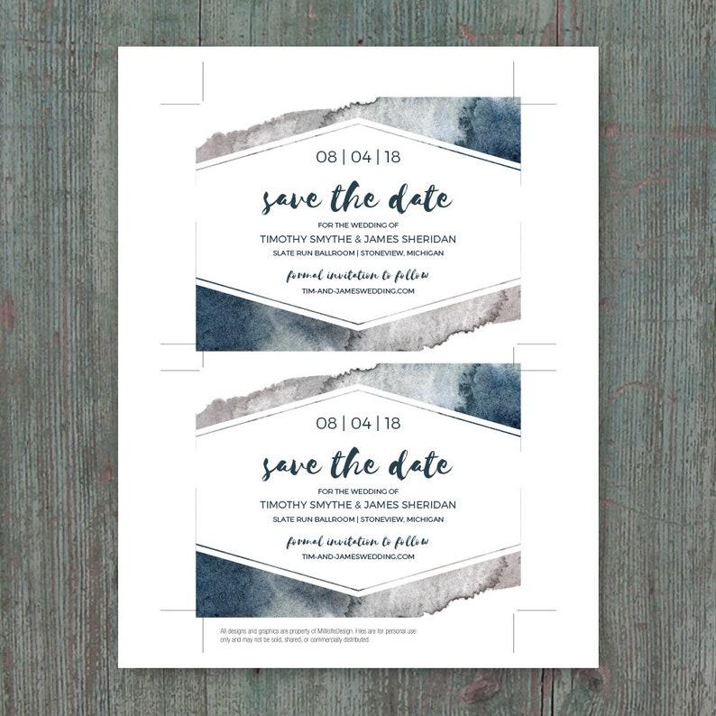Printable Save the Date DIY Template \u2022 Instant Download \u2022 Stone Wash Watercolor