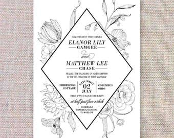 Printable Wedding Invitation • Black & White Flowers