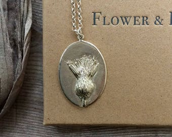 Thistle Pendant - For Endurance. Sterling Silver Pendant available individually or as a necklace.