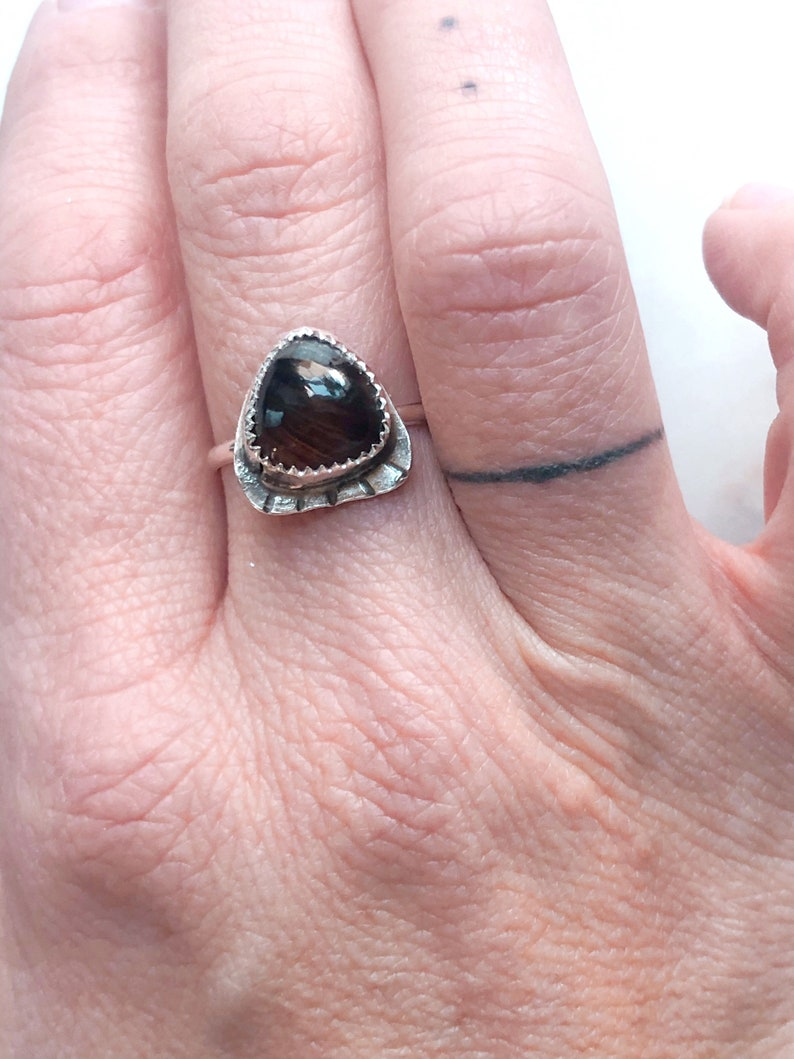 Adjustable Sterling Silver Ring Moon Ring Silver Agate Triangle Nugget Ring Boho Gypsy Gemstone Jewelry