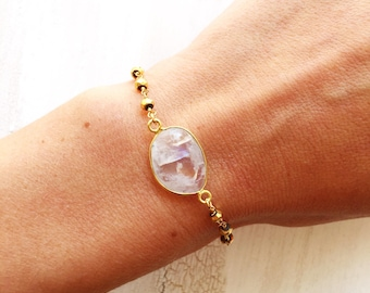 Moonstone coin bracelet, pyrite Rosary chain gold filled Bangle, boho Nomad Gypsy jewelry, Moonstone gemstone bracelets gold filled