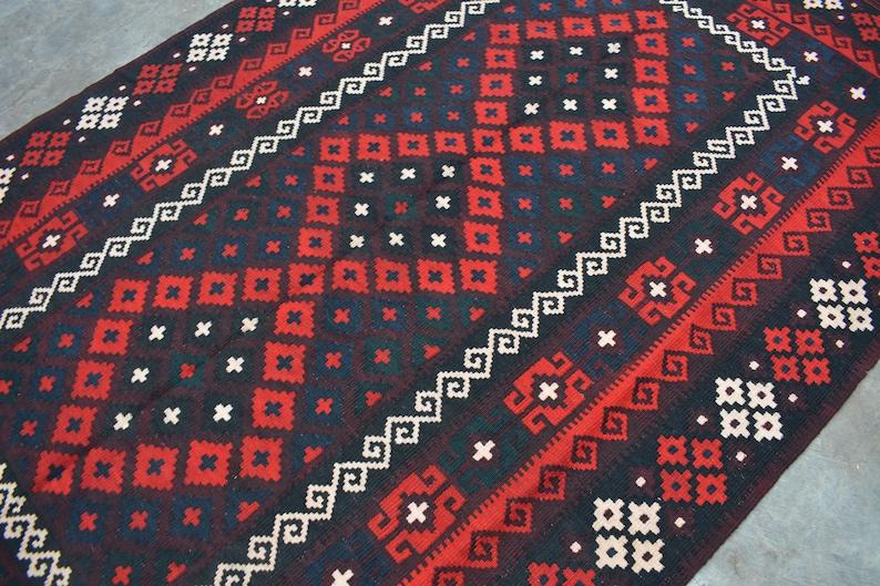 Size 4/'10 x 8/'3 Feet Vintage Handmade Afghan Tribal Kelim Maimana Rug  100/% Wool Handmade Traditional Kelim Rug  Handmade Kelim Rug