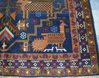 3'3 x 6' FT Handmade Afghan Pictorial Vintage Baluch Tribal 100% Wool Traditional rug