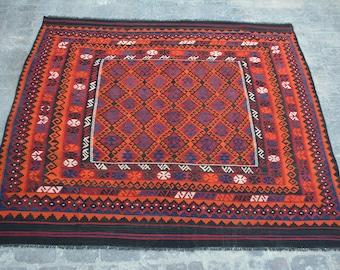 8'6 x 8'4 FT Traditional Handmade Afghan Ghallmori Vintage 100% wool Square rug, Baluch rug, Turkish rug, kilim rug