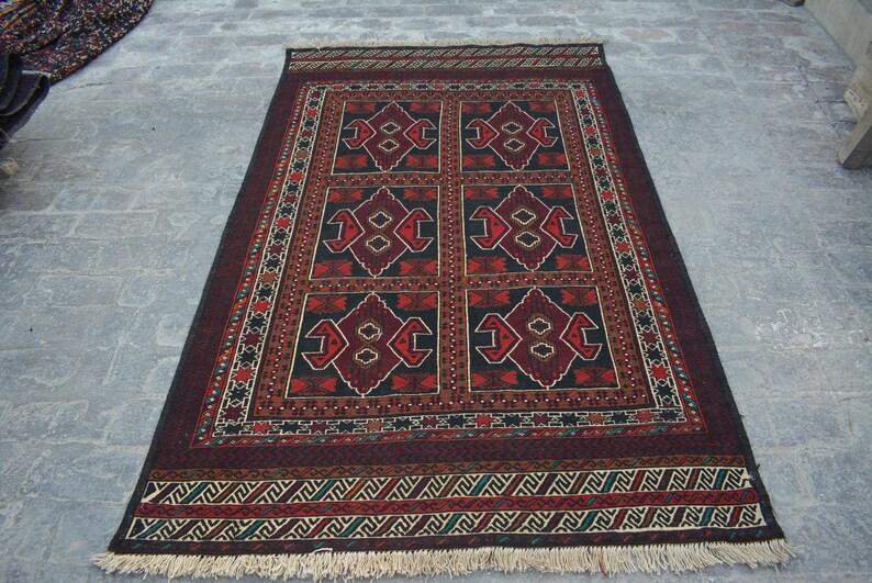4/'4 x 6/'9 Feet Gorgeous  Handmade Afghan Adraskan 100/% wool Traditional Vintage kilim rug