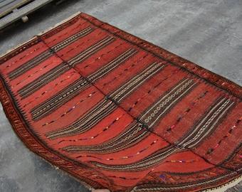 Vintage Handmade Afghan Tribal Kelim Adraskan 100% Wool Traditional Rug Home Decor Rug Vintage Kelim and Carpet Rug SIZE : 5'1 x 9'6 Feet