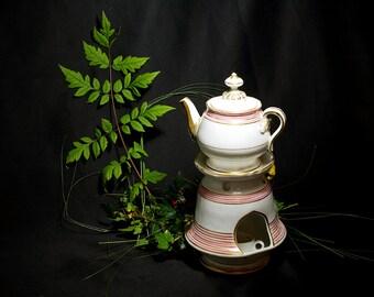 19th antique French herbal teapot, Paris porcelain Nightlight teapot, porcelain tea pot, Tisanière, night light, vintage Chinaware