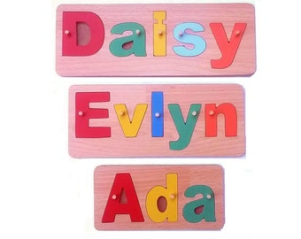 Name Jigsaw, Hand Made, Quality Wooden Toy Made In England, slot in jigsaw, birth gift, birthday gift
