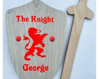 Children's Sword & Shield, Personalised, Traditional Wooden Toy