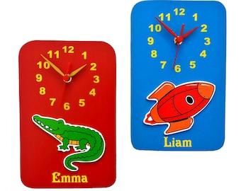 children's clock, personalised made in England