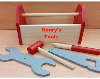 Childs tool box with play tools, hand made in the U.K.