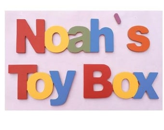 Toy Box Name, Wooden Letters, Personalised Toy Box, Hand Made In England