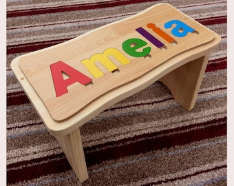 Children's jigsaw stool, personalised, Made In England
