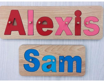 Name Jigsaw, Hand Made In England, Quality Wooden Toy, birthday gift