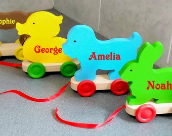 Pull Along Toys, Hand Made In The U.K. Traditional 'Chunky' Wooden Toys, Wooden Animals