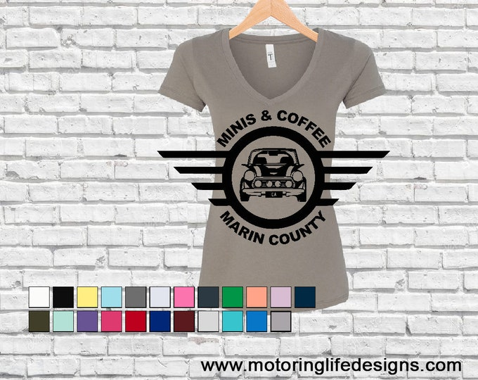 MINI & Coffee Marin County Women's V-neck tshirt