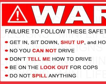 Stickers- WARNING visor stickers