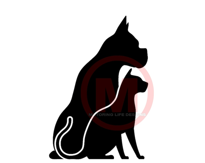Cat and Dog #4 vinyl decal