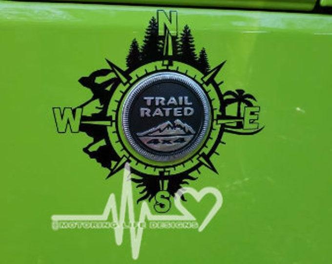 Jeep Wrangler S UL trail badge compass decal