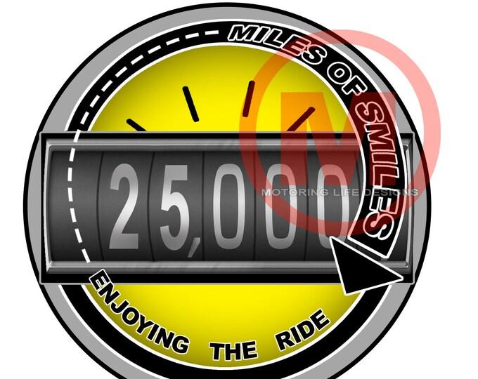 "MILES OF SMILES- 25K  3"" magnetic badge"
