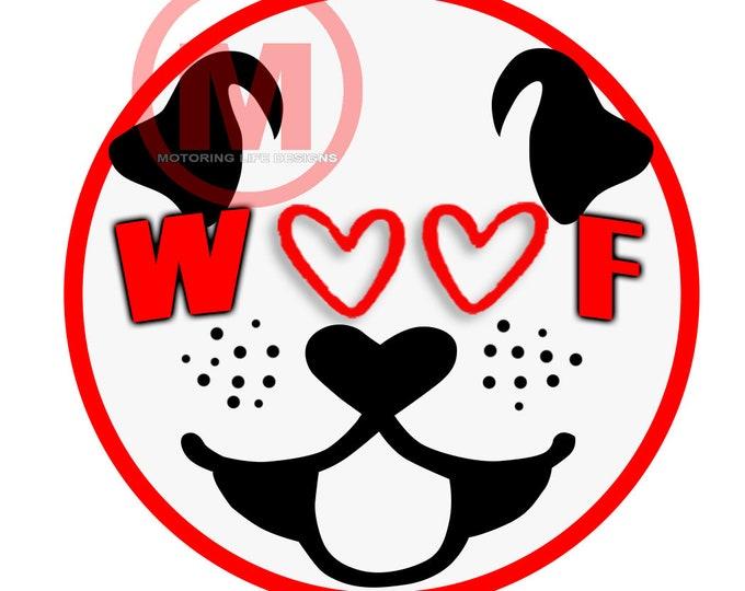 "WOOF  3"" magnetic badge"