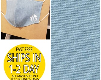 Face Covering Mask- Panel style, Lightweight,  Breathable Cotton, Washable and Reusable- Chambray w/Monogram