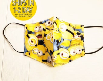 Face Covering Mask- Panel style, Lightweight,  Breathable Cotton, Washable and Reusable- Minion