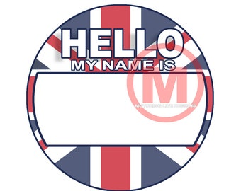 "Grill Badge- British HELLO  3"" magnetic grill badge"