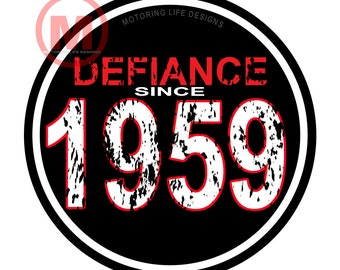 """Grill Badge- DEFIANCE SINCE 1959 3"""" magnetic grill badge"""