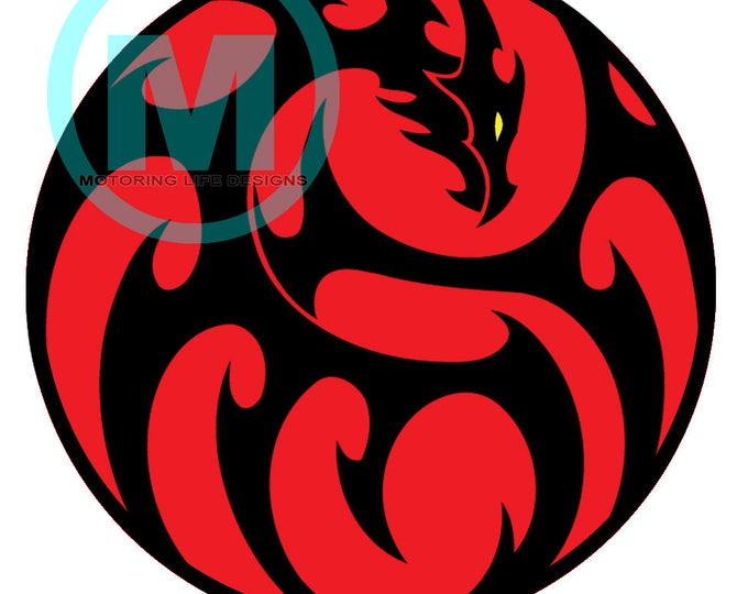 "Grill Badge- Red Dragon 3"" magnetic grill badge"