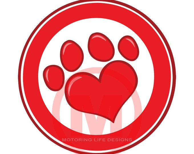 "Grill Badge-PAWS LOVE 3"" magnetic grill badge"
