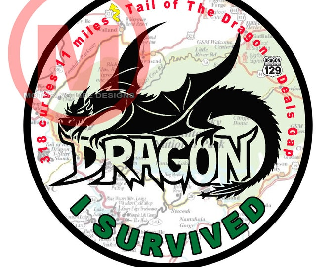 "Grill Badge- I Survived the Dragon 3"" magnetic grill badge"