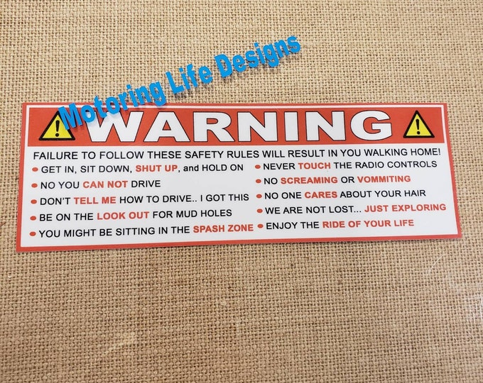 Stickers- JEEP WARNING visor stickers