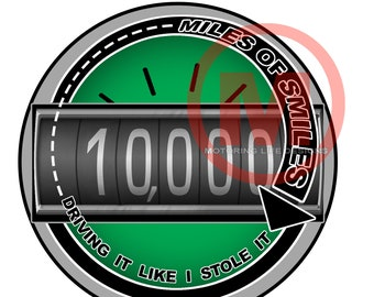 "MILES OF SMILES- 10K  3"" magnetic badge"