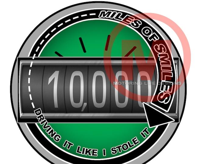 "MILES OF SMILES- 10K  3"" magnetic badge"
