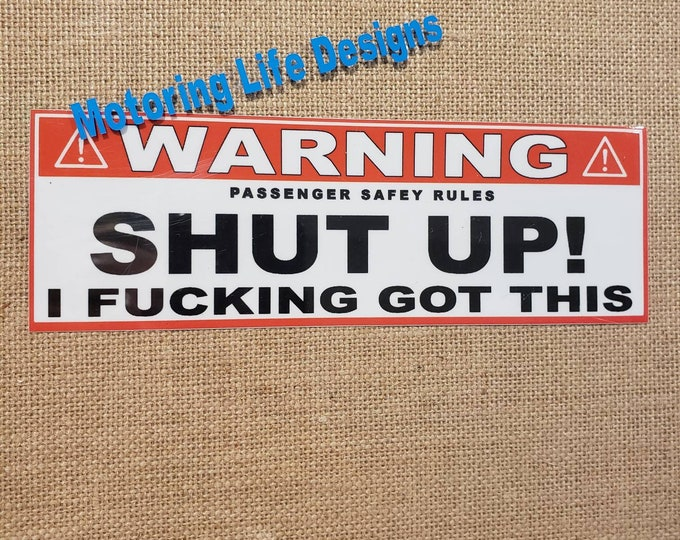 Stickers- WARNING 'SHUT UP' visor stickers