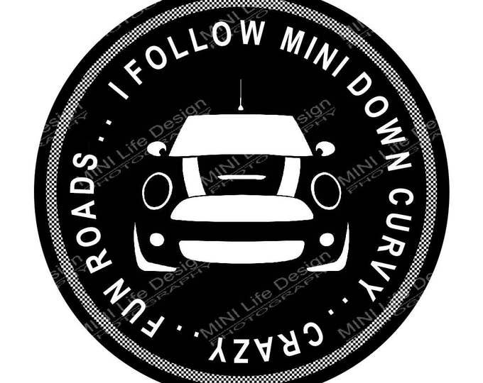 "Grill Badge- I Follow MINI  3"" magnetic grill badge"